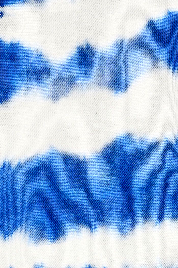 Cropped jumper in a batik look, 100% cotton, BRIGHT BLUE, detail image number 4