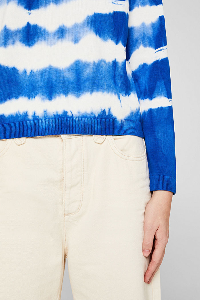 Cropped jumper in a batik look, 100% cotton, BRIGHT BLUE, detail image number 5