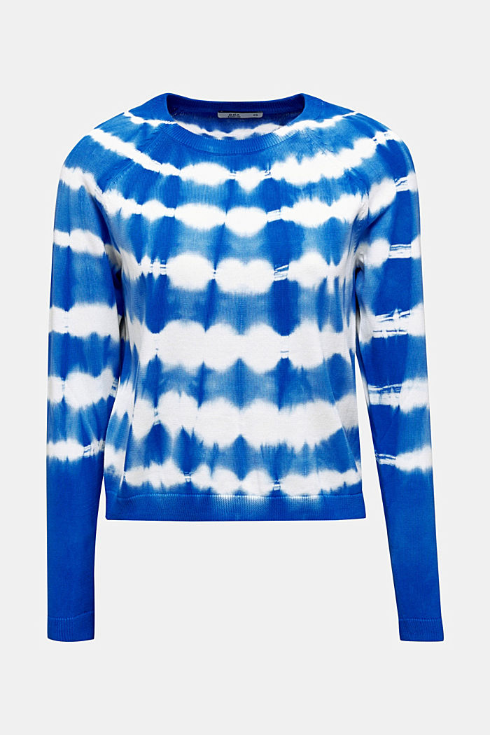 Cropped jumper in a batik look, 100% cotton, BRIGHT BLUE, detail image number 7