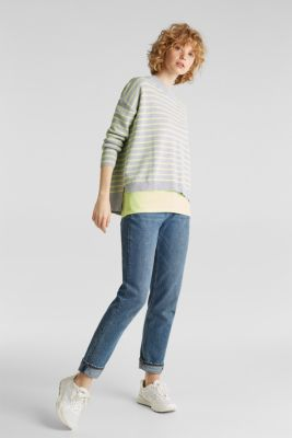 Oversized jumper with stripes, 100% cotton, LIGHT GREY 4, detail