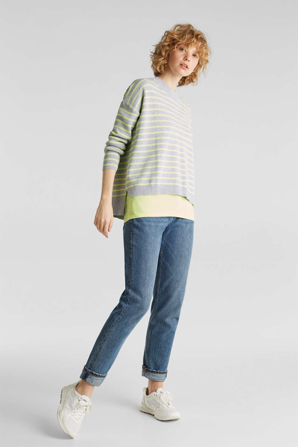 Oversized jumper with stripes, 100% cotton, LIGHT GREY 4, detail image number 1