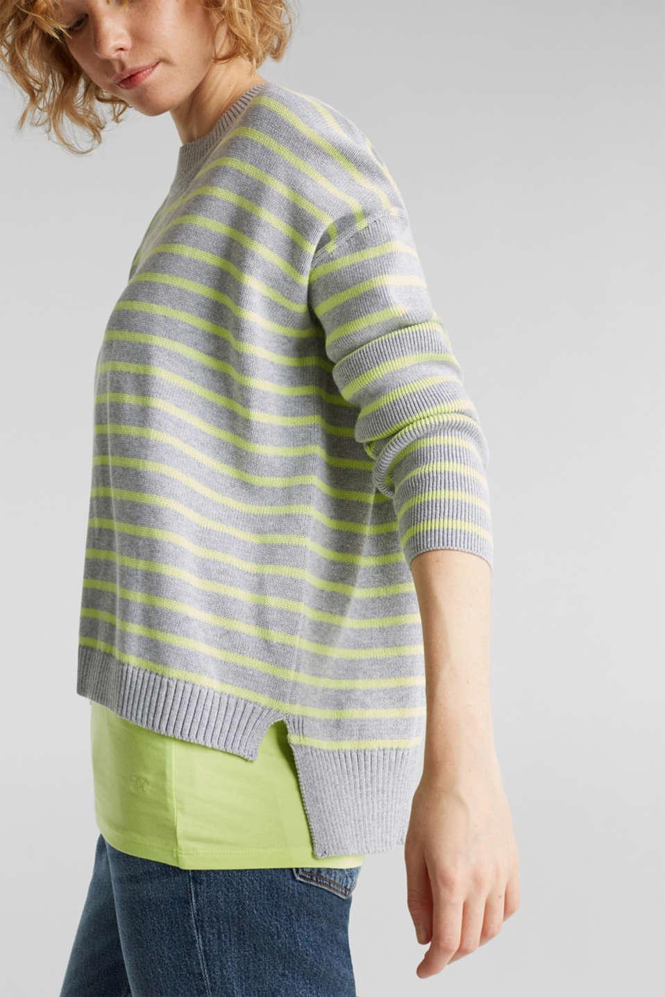 Oversized jumper with stripes, 100% cotton, LIGHT GREY 4, detail image number 2