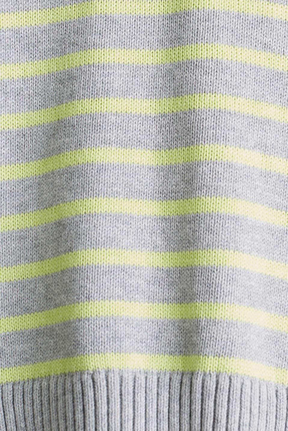 Oversized jumper with stripes, 100% cotton, LIGHT GREY 4, detail image number 3