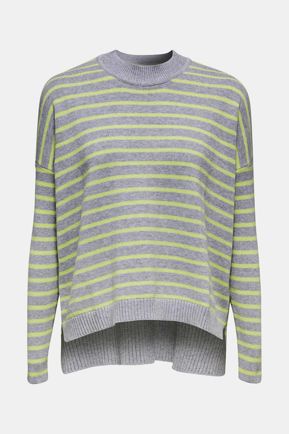 Oversized jumper with stripes, 100% cotton, LIGHT GREY 4, detail image number 5
