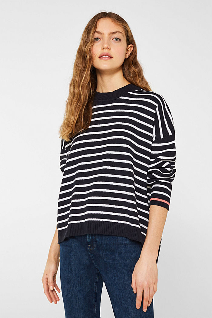 Oversized jumper with stripes, 100% cotton, NAVY 2, detail image number 0