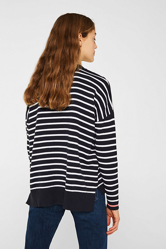 Oversized jumper with stripes, 100% cotton, NAVY 2, detail image number 3