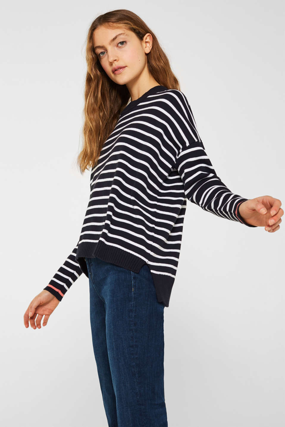Oversized jumper with stripes, 100% cotton, NAVY 2, detail image number 5