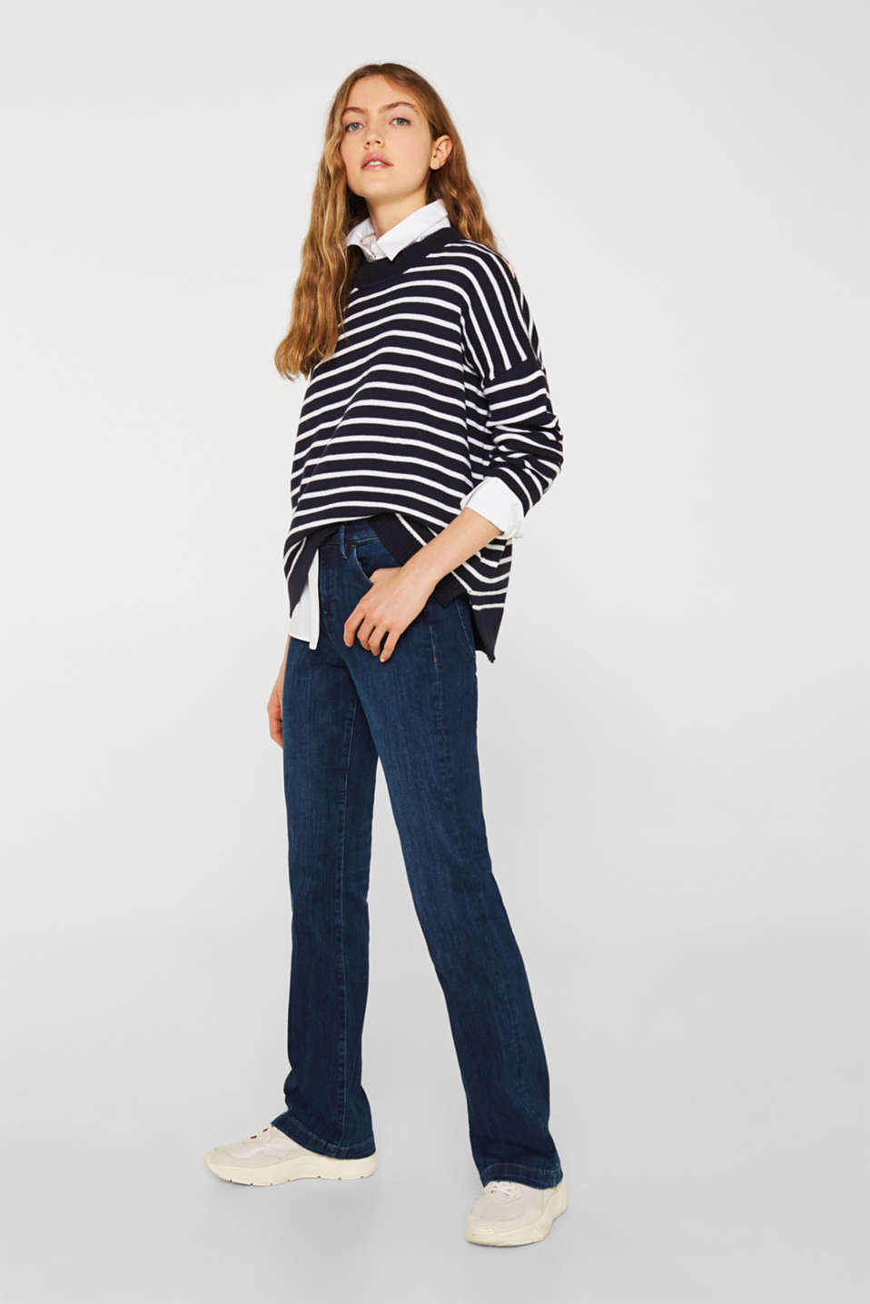 Oversized jumper with stripes, 100% cotton, NAVY 2, detail image number 1