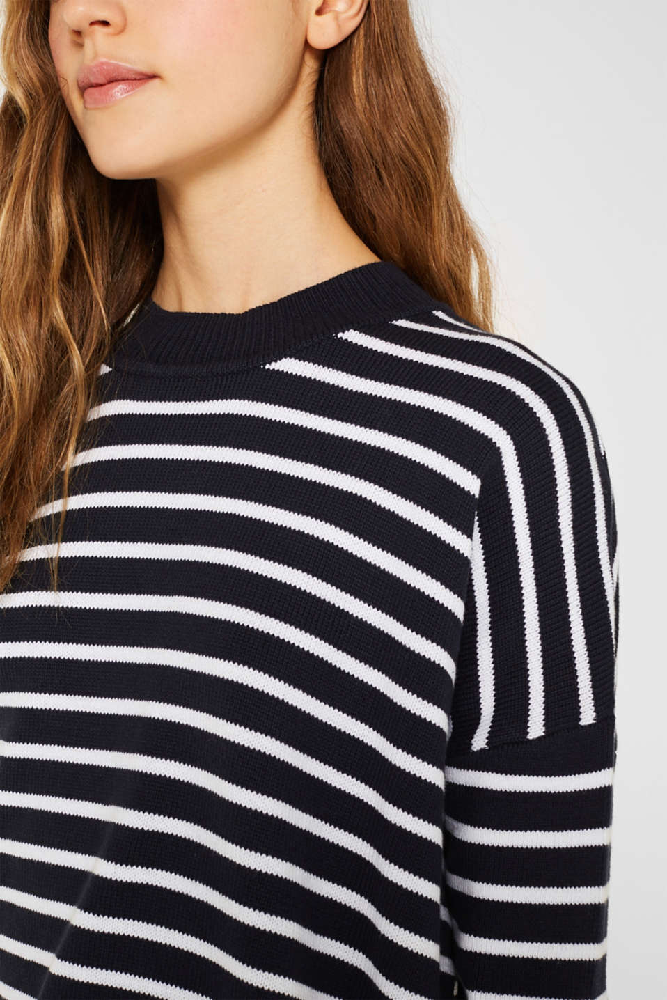 Oversized jumper with stripes, 100% cotton, NAVY 2, detail image number 2