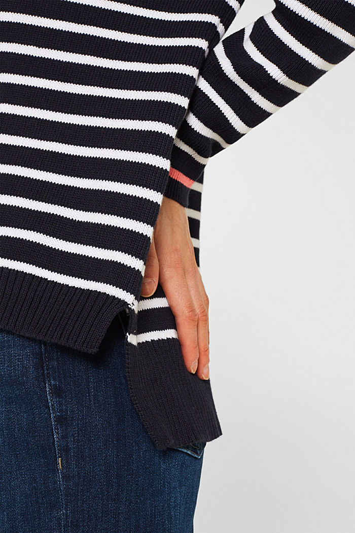 Oversized jumper with stripes, 100% cotton, NAVY 2, detail image number 6