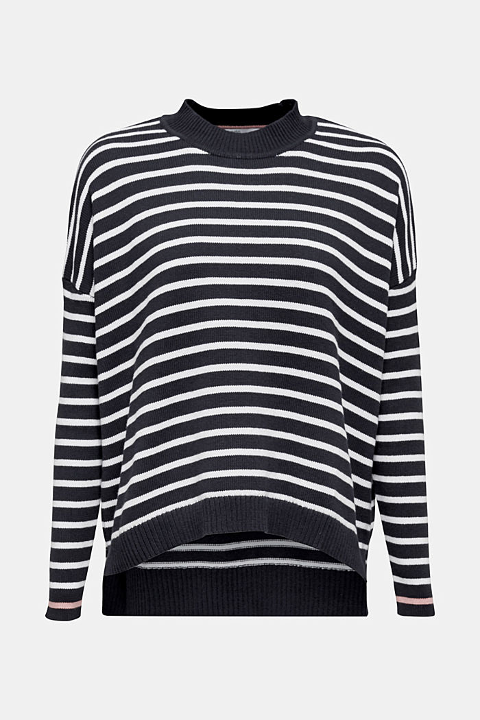 Oversized jumper with stripes, 100% cotton, NAVY 2, detail image number 7