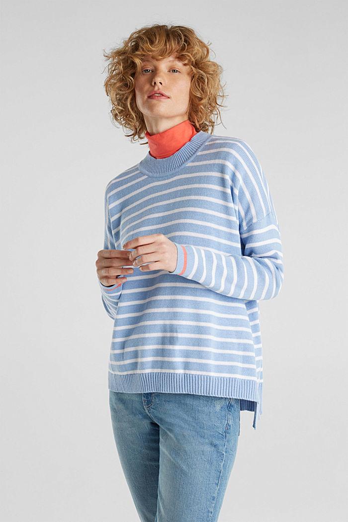 Oversized jumper with stripes, 100% cotton, BLUE LAVENDER, detail image number 0