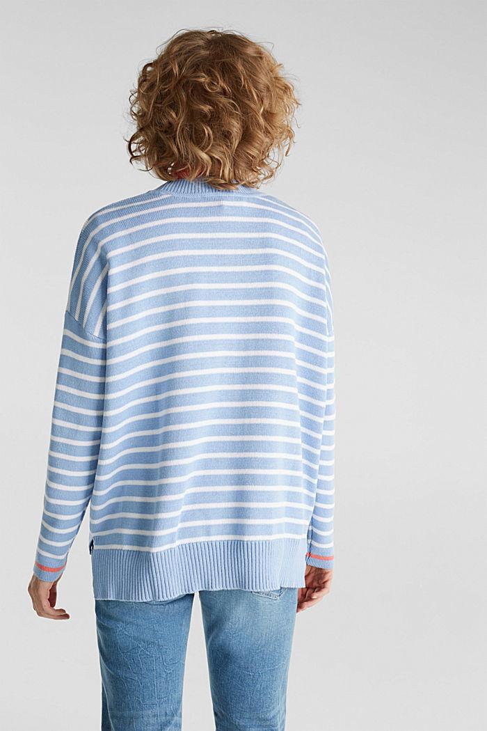 Oversized jumper with stripes, 100% cotton, BLUE LAVENDER, detail image number 3