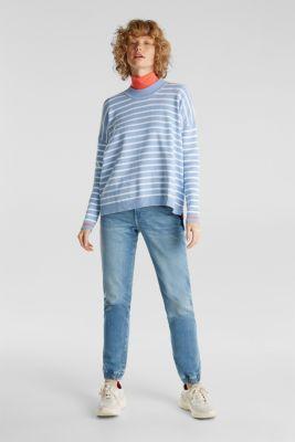 Oversized jumper with stripes, 100% cotton, BLUE LAVENDER 3, detail