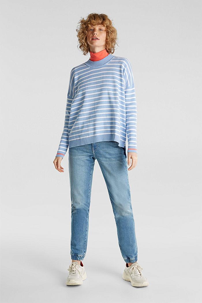 Oversized jumper with stripes, 100% cotton, BLUE LAVENDER, detail image number 1