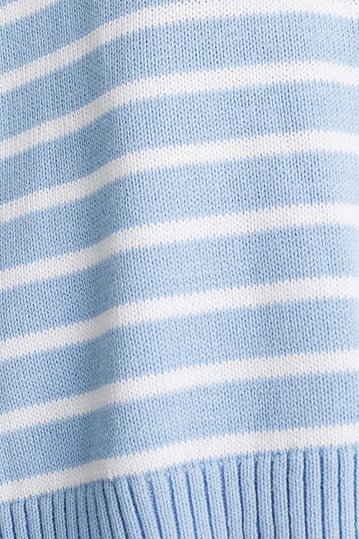 Oversized jumper with stripes, 100% cotton, BLUE LAVENDER, detail image number 4