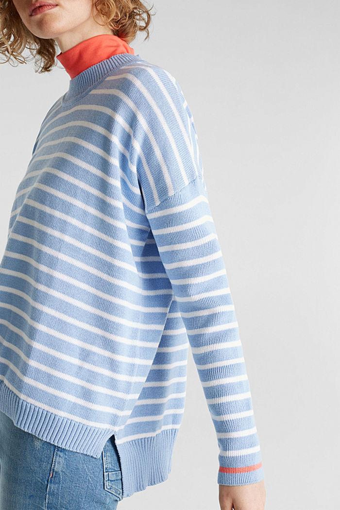 Oversized jumper with stripes, 100% cotton, BLUE LAVENDER, detail image number 5