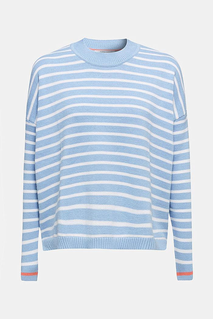 Pull-over oversize à rayures, 100% coton, BLUE LAVENDER, detail image number 0