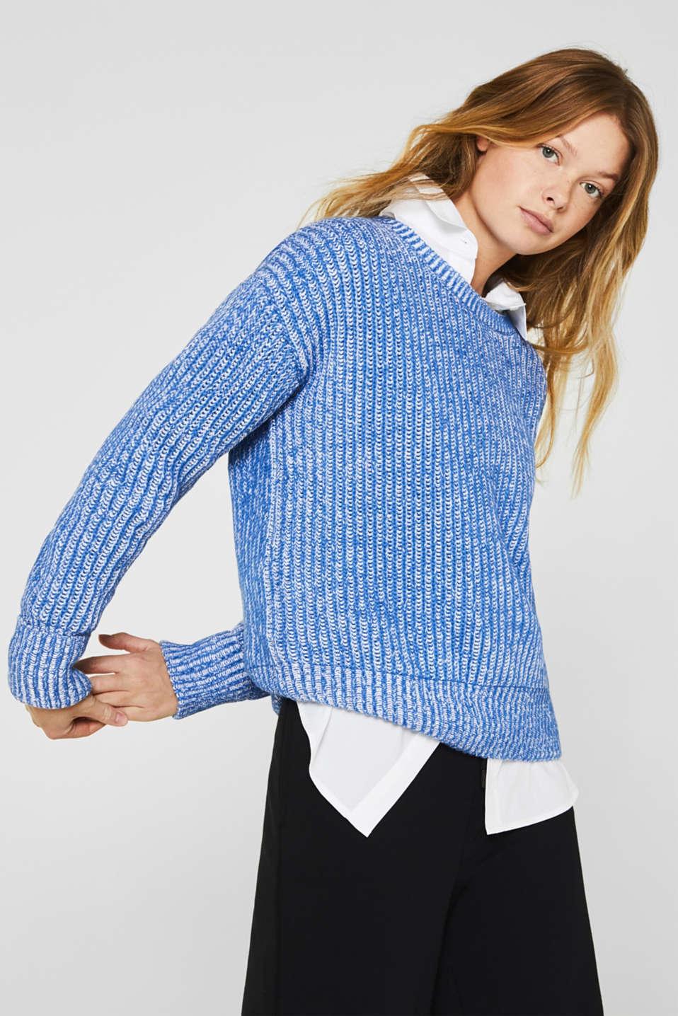 Melange chunky knit jumper, BRIGHT BLUE 2, detail image number 0