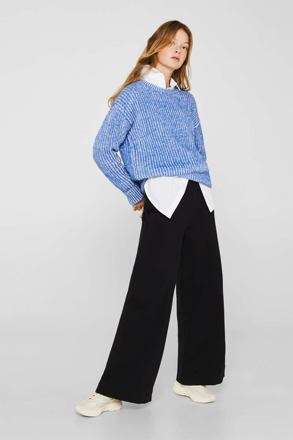 Melange chunky knit jumper, BRIGHT BLUE 2, detail image number 1