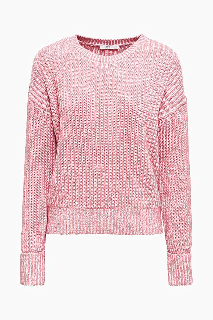 Melierter Grobstrick-Pullover