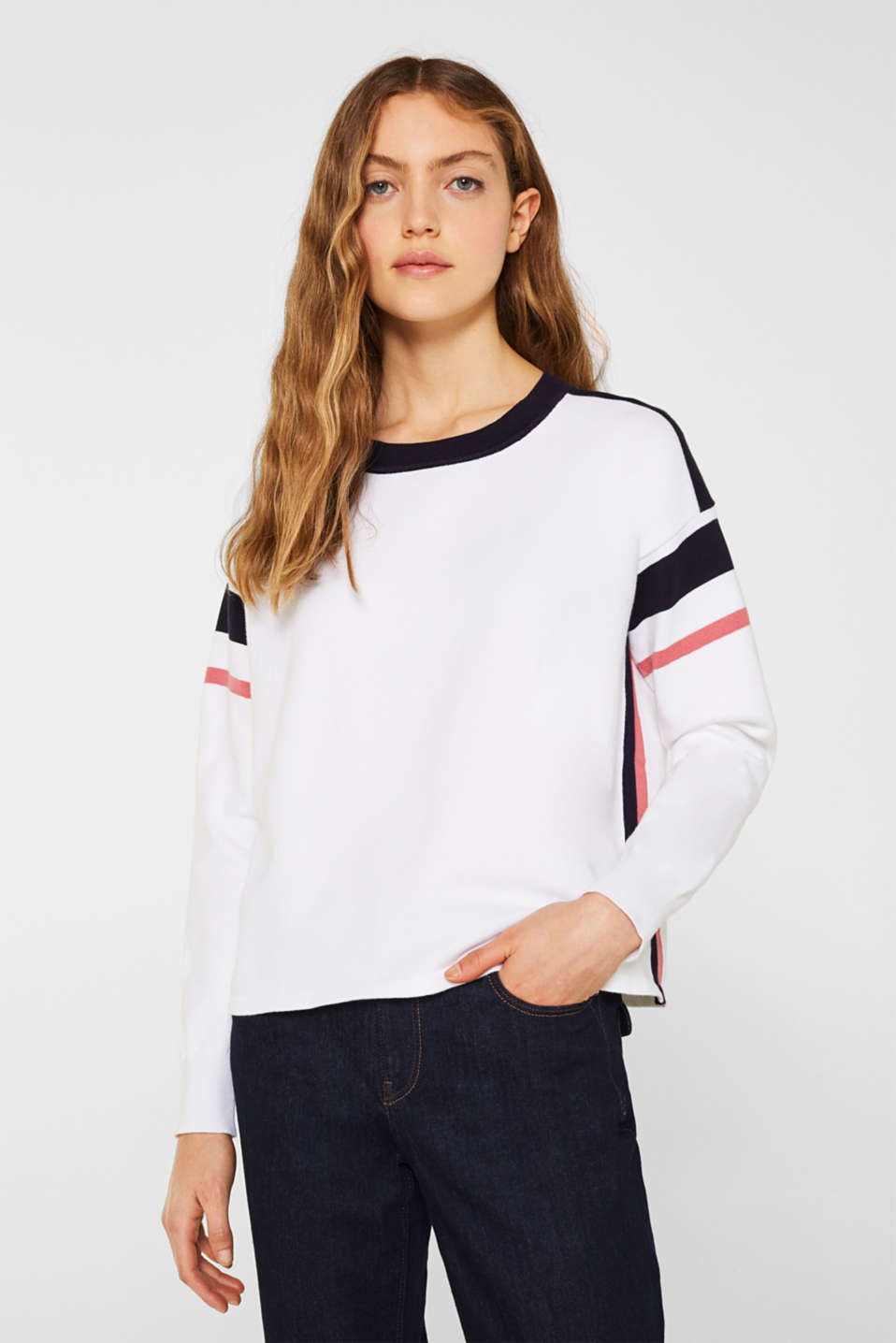 Jumper with sporty stripes, WHITE 2, detail image number 0