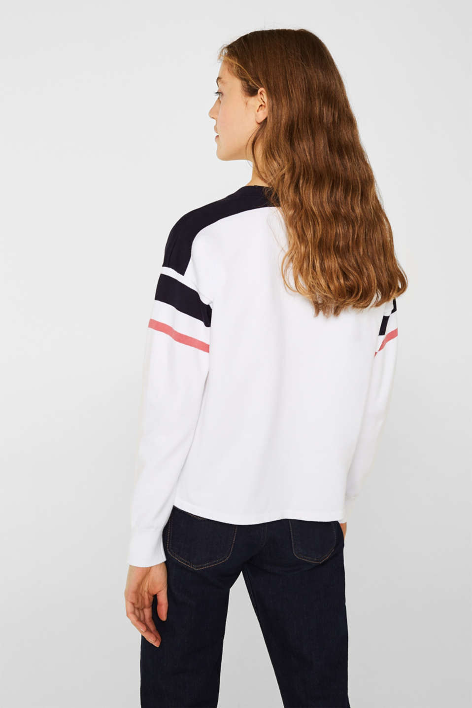 Jumper with sporty stripes, WHITE 2, detail image number 3