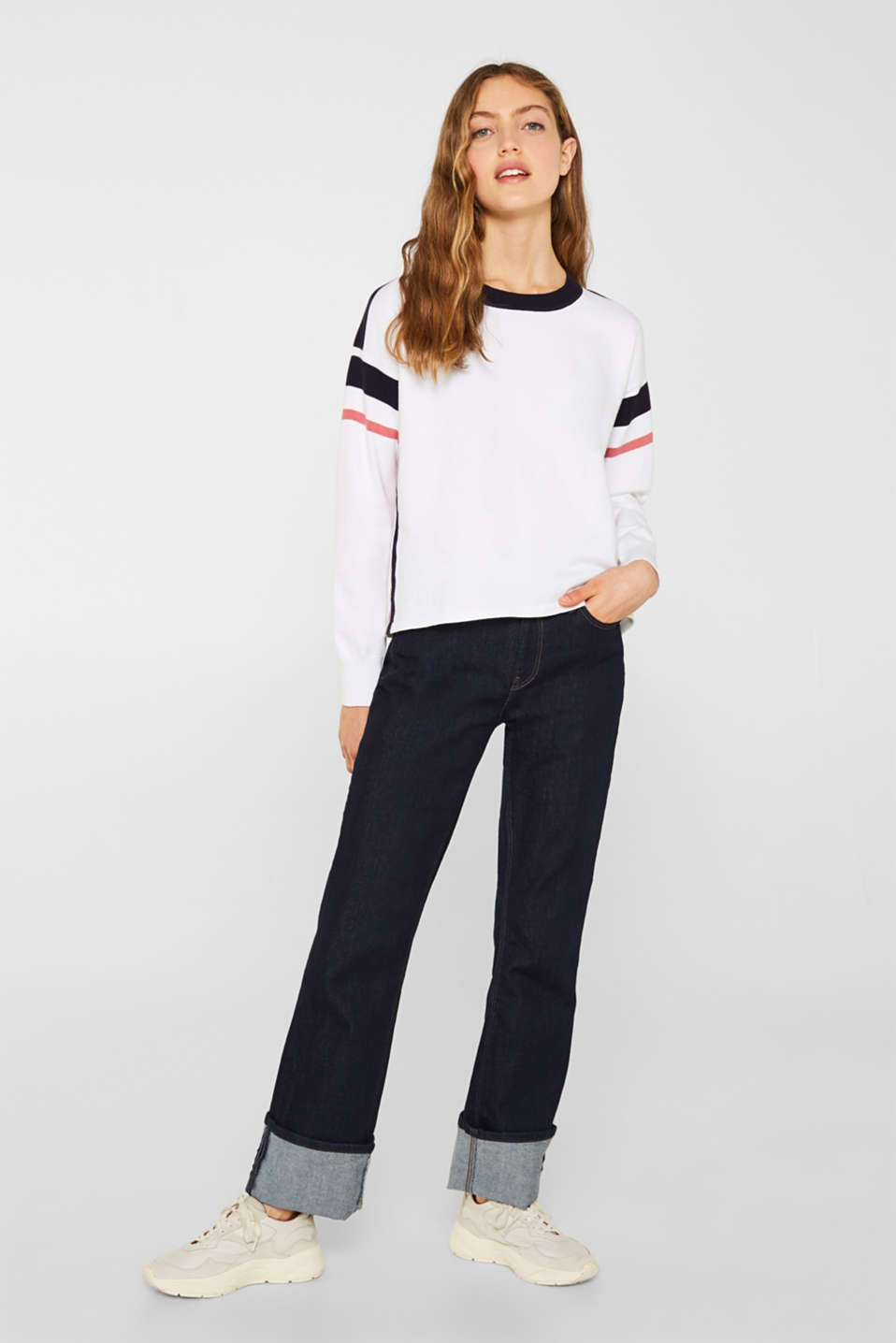 Jumper with sporty stripes, WHITE 2, detail image number 1
