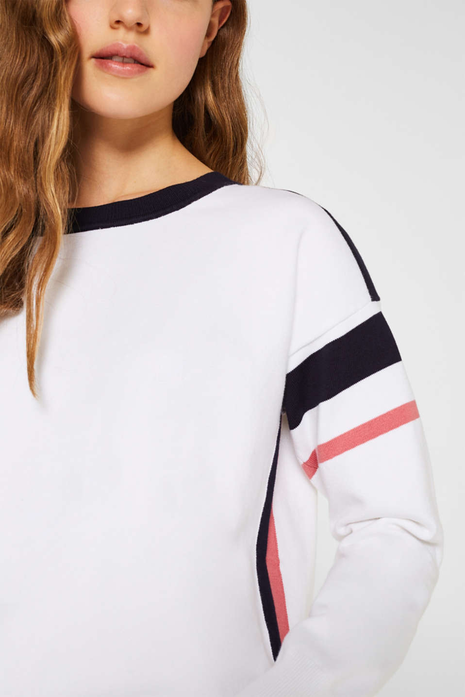 Jumper with sporty stripes, WHITE 2, detail image number 2