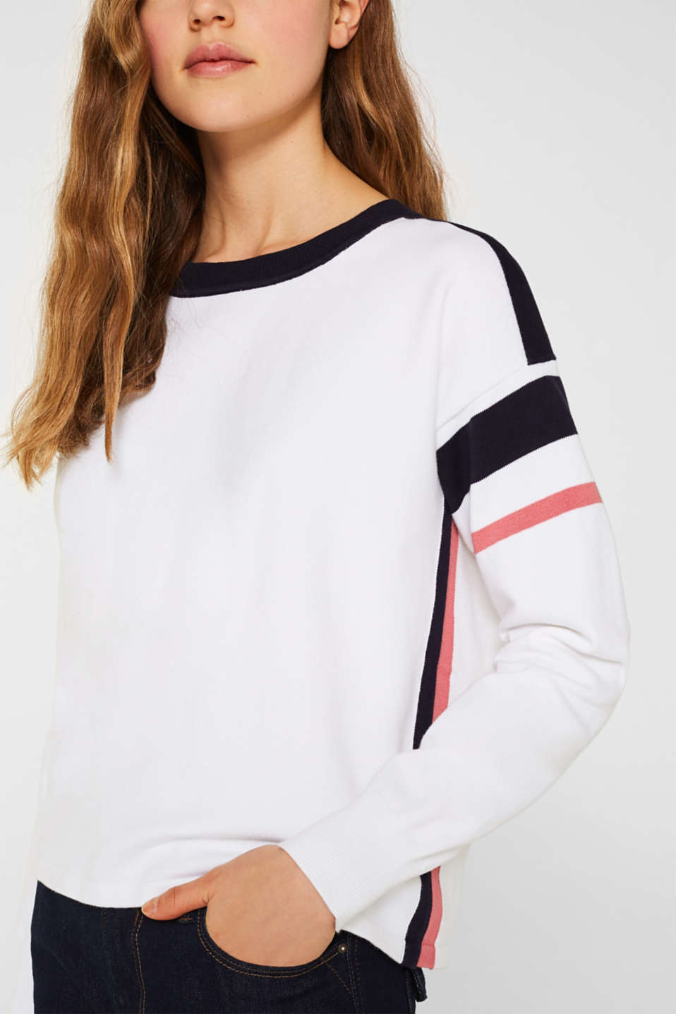 Jumper with sporty stripes, WHITE 2, detail image number 4
