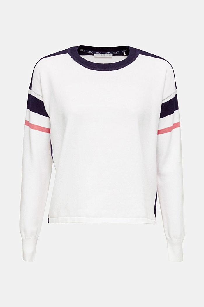 Pullover mit sportiven Streifen, WHITE 2, detail image number 0