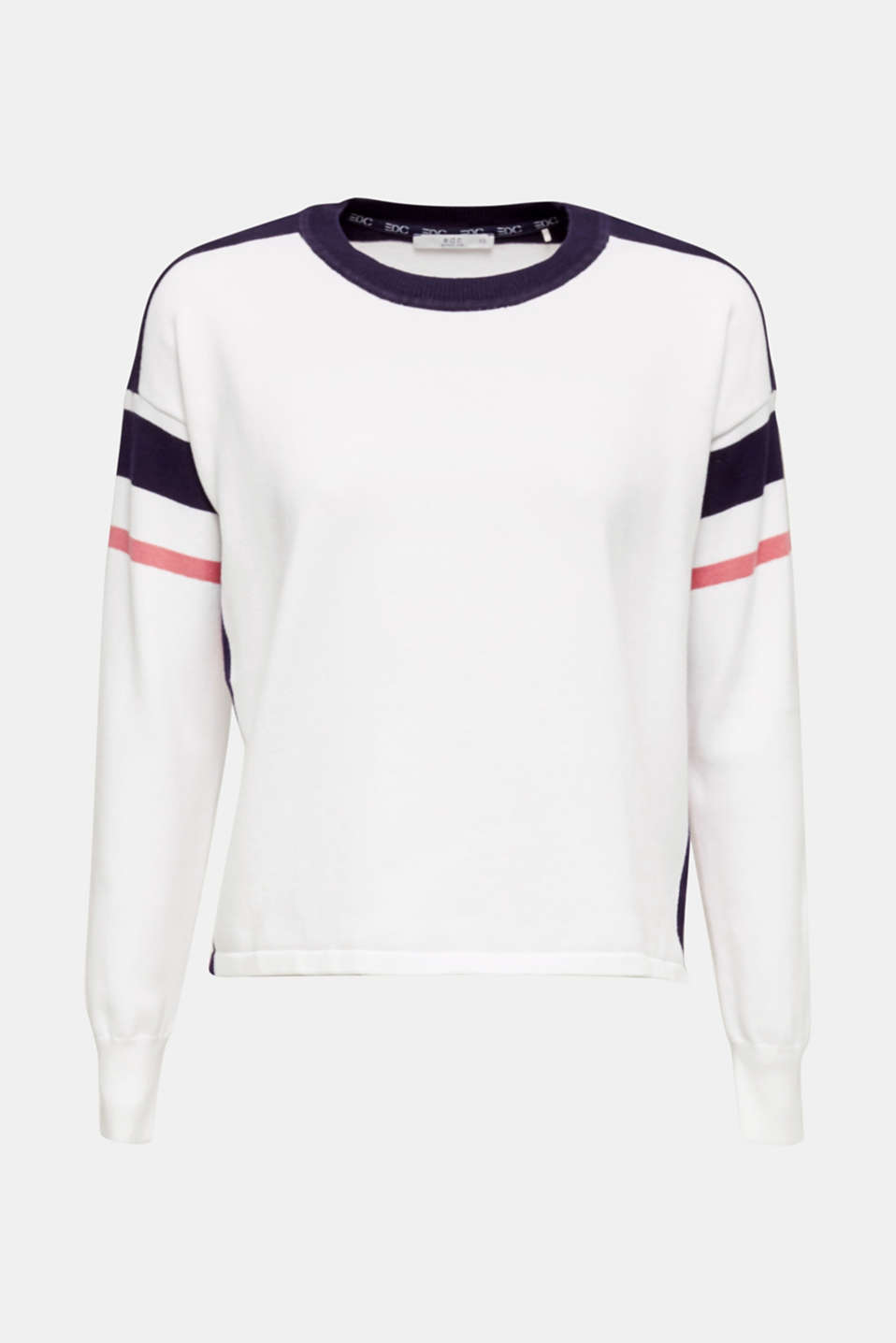 Jumper with sporty stripes, WHITE 2, detail image number 6