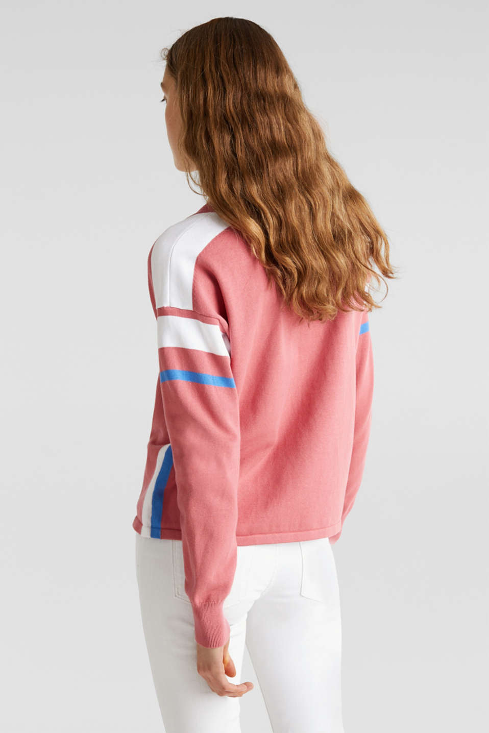 Jumper with sporty stripes, BLUSH 3, detail image number 3