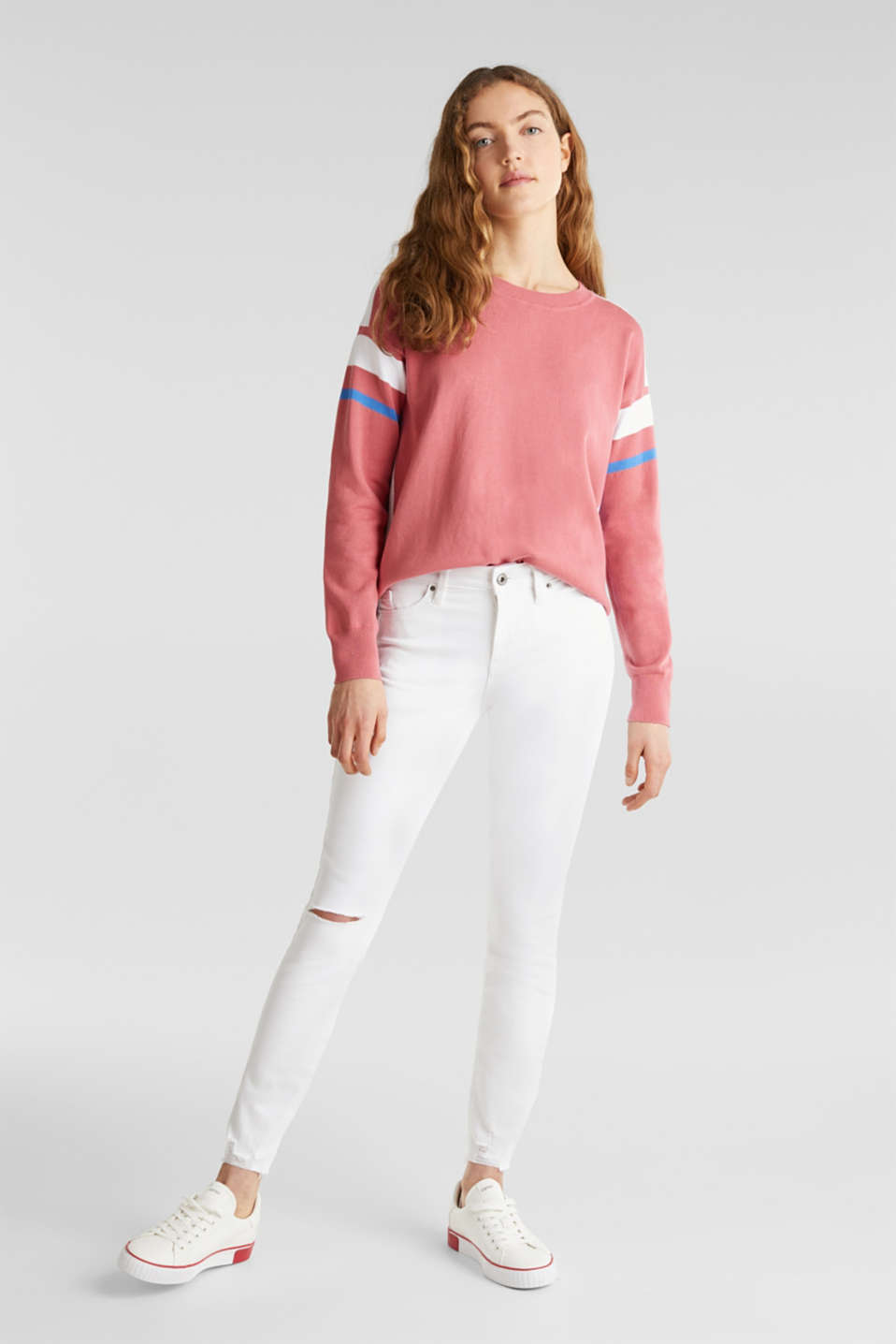 Jumper with sporty stripes, BLUSH 3, detail image number 1