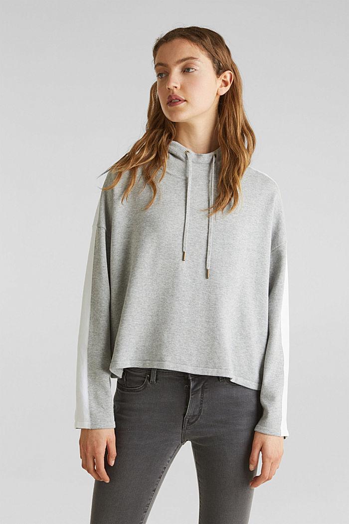 Gebreide, boxy hoodie met colour block, LIGHT GREY, detail image number 0