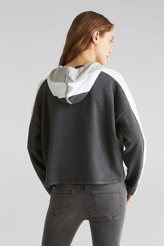 Gebreide, boxy hoodie met colour block, LIGHT GREY, detail image number 3