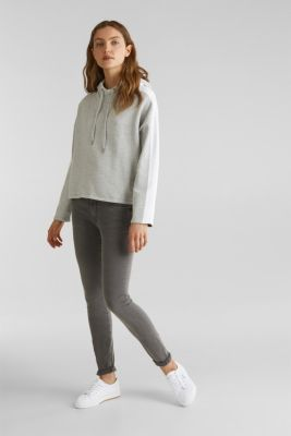 Boxy knit hoodie with colour blocking, LIGHT GREY 4, detail