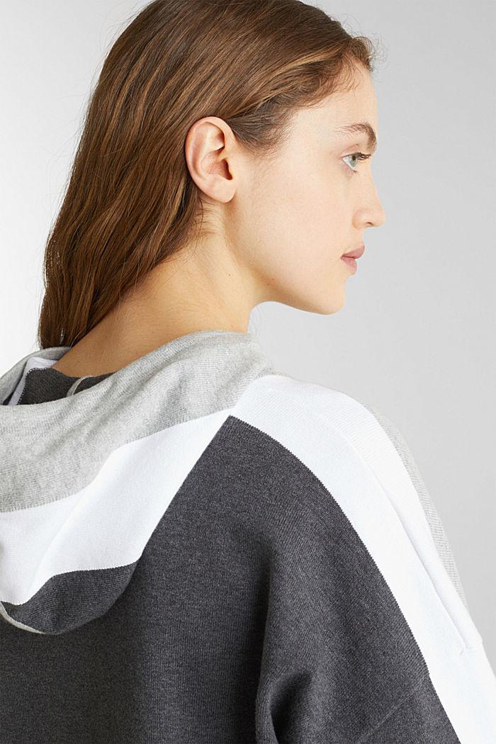 Gebreide, boxy hoodie met colour block, LIGHT GREY, detail image number 2