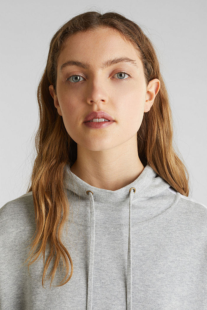 Gebreide, boxy hoodie met colour block, LIGHT GREY, detail image number 5