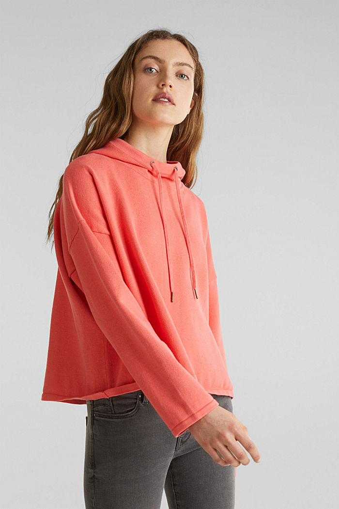 Boxy knit hoodie with colour blocking, CORAL, detail image number 0