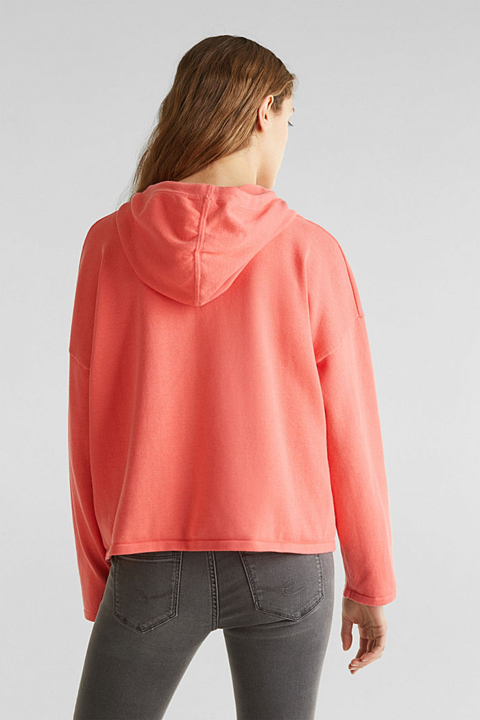Boxy knit hoodie with colour blocking, CORAL, detail image number 3