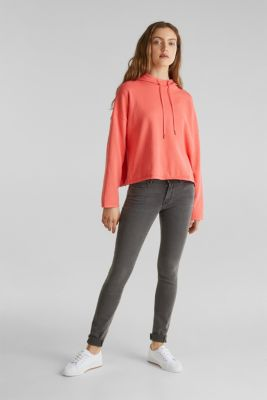 Boxy knit hoodie with colour blocking, CORAL, detail