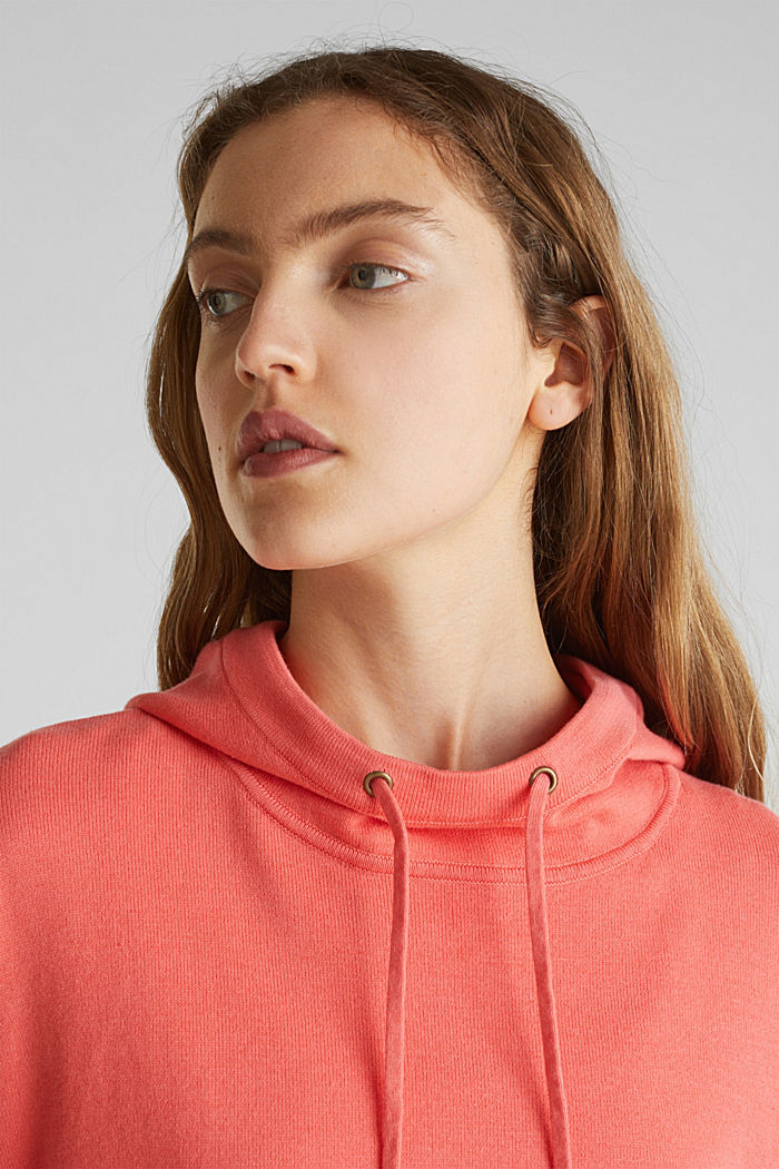 Boxy knit hoodie with colour blocking, CORAL, detail image number 2