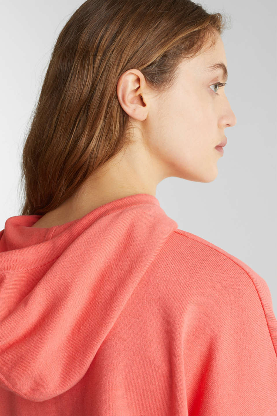 Boxy knit hoodie with colour blocking, CORAL, detail image number 5