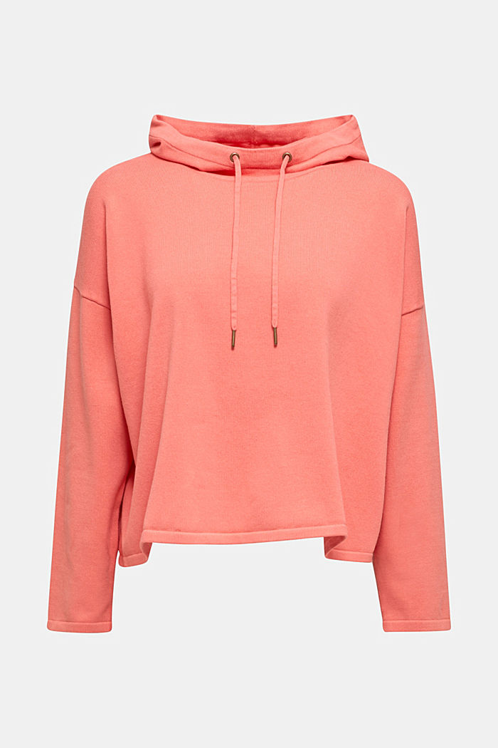 Boxy knit hoodie with colour blocking, CORAL, detail image number 7