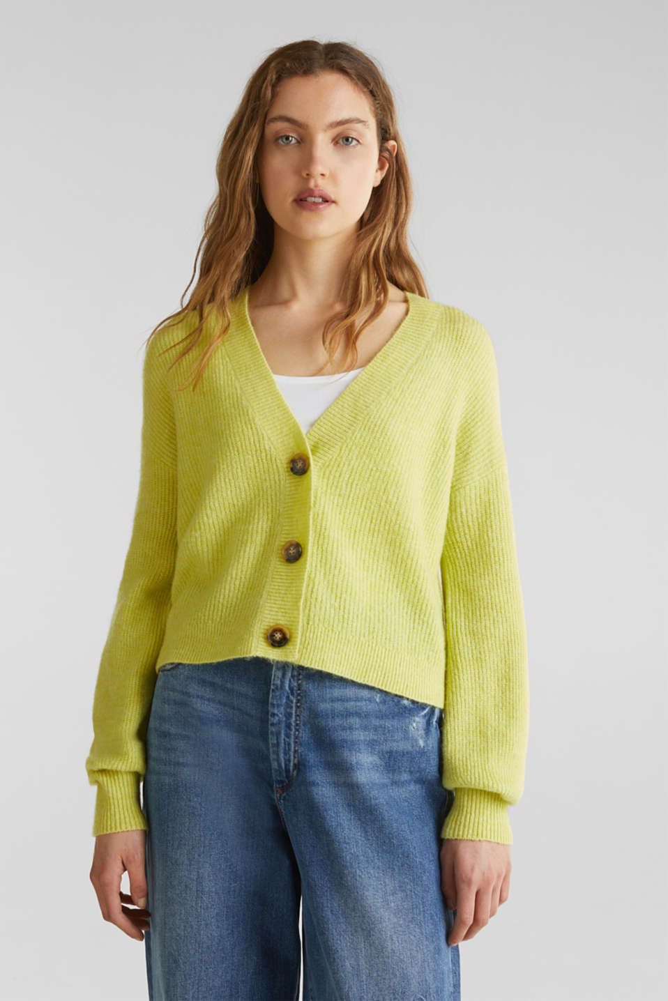 edc - Cardigan stretch NEON de coupe carrée
