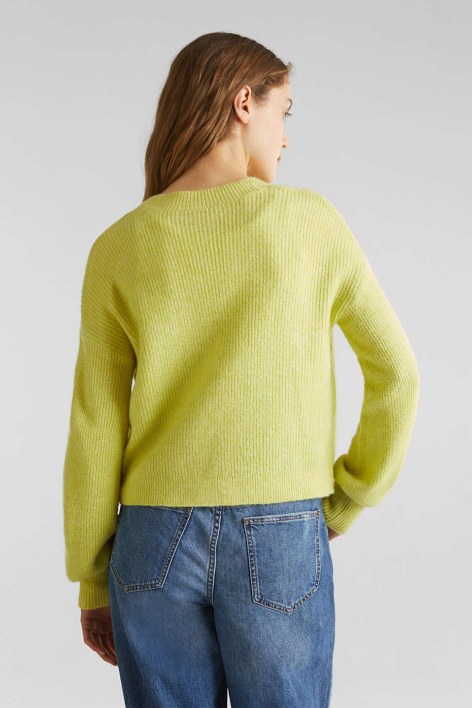 NEON short, boxy stretch cardigan, LIME YELLOW, detail image number 3