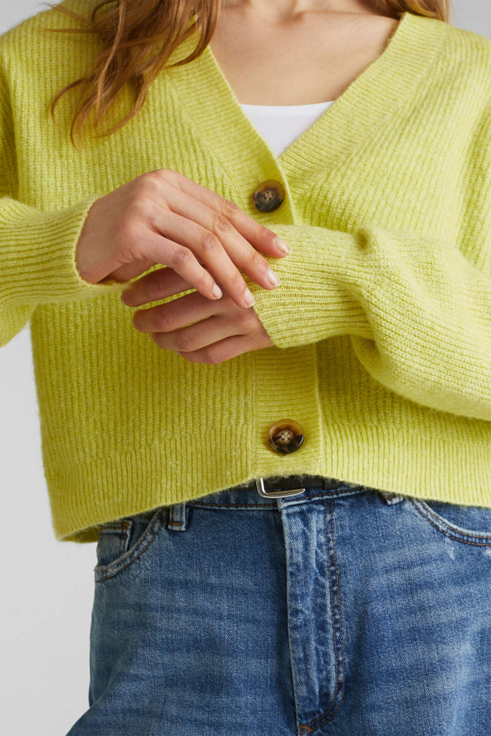 NEON short, boxy stretch cardigan, LIME YELLOW, detail image number 2