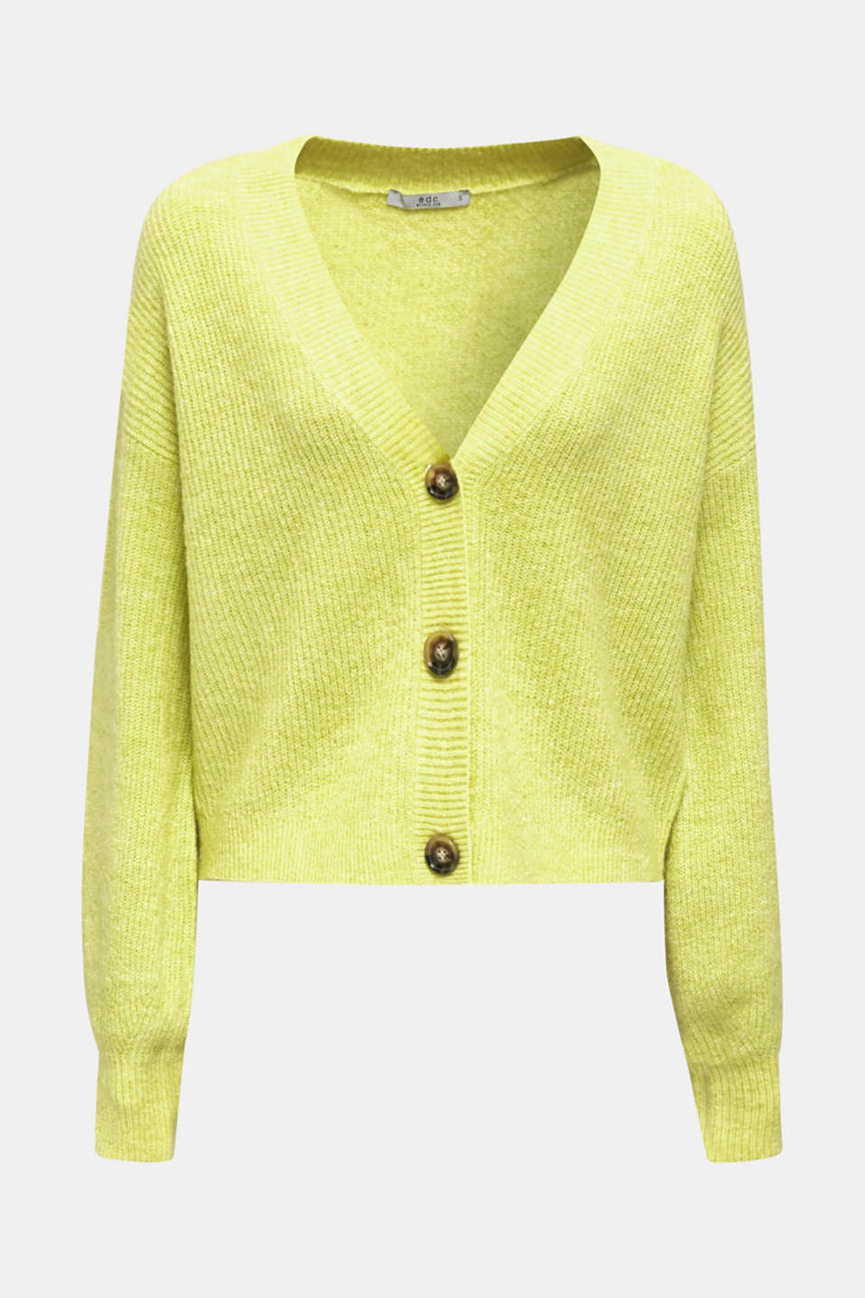 NEON short, boxy stretch cardigan, LIME YELLOW, detail image number 5