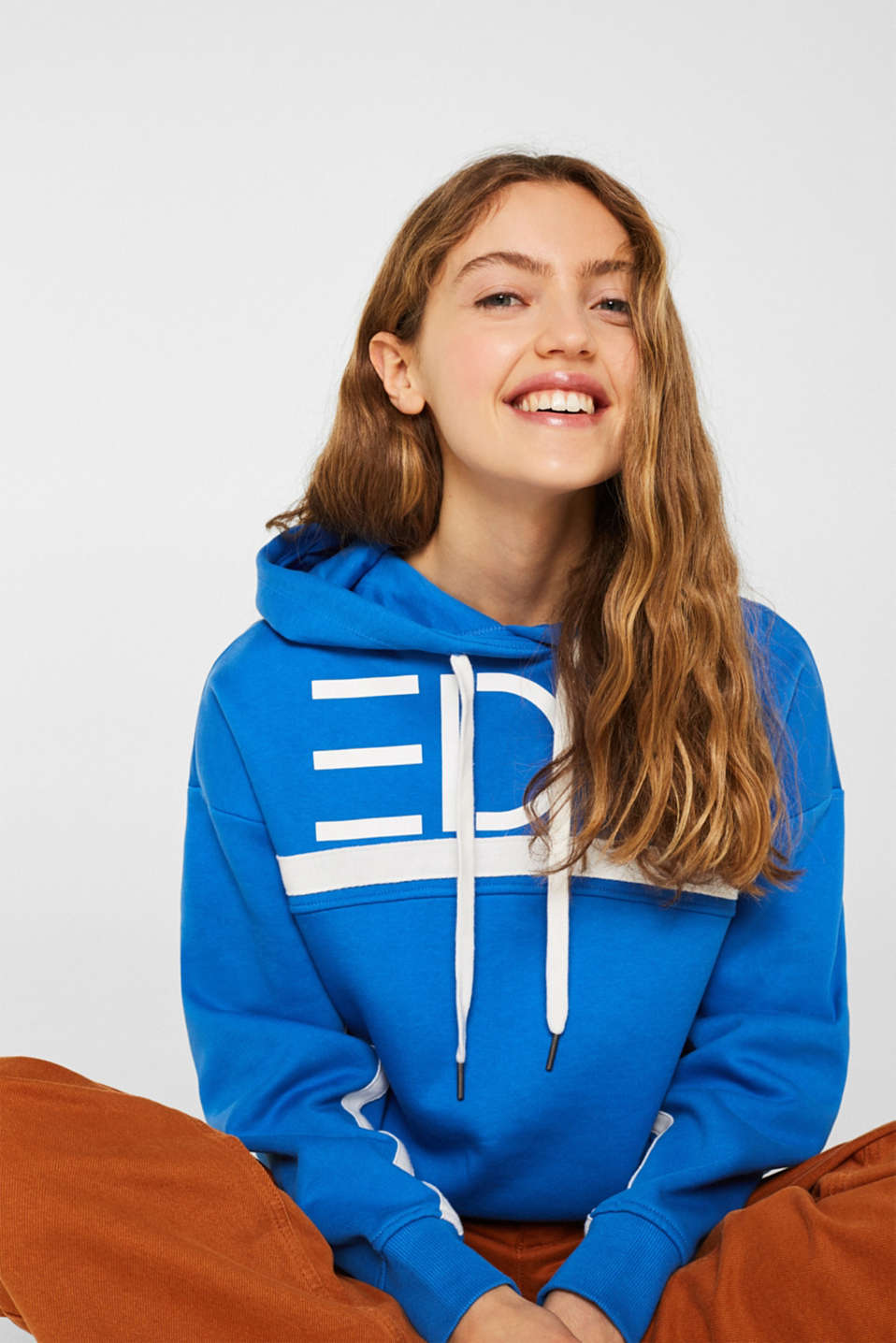Logo hoodie with woven tape, 100% cotton, BRIGHT BLUE, detail image number 0